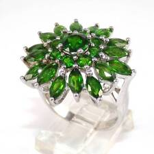 Sterling Silver Green Diopside Cluster Flower Ring Size 9.25
