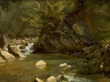 Paul Huet FRENCH woodland stream old art painting poster print bb6258a