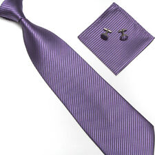 Factory Classic Solid Striped Mens Tie Set Necktie Handkerchief Cufflinks Set