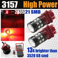 2x 3157 High Power 2835 LED Bright Red Brake Tail Dual Function Light Projector