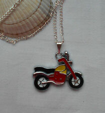 Kids childrens boys girls necklace motorbike pendant silver plated