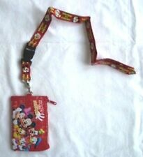 RED Mickey Minnie Mouse Friends Lanyard Disney Fast Pass ID Badge Holder Gift