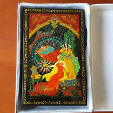 RUSSIAN HAND PAINTED WOODEN PALEKH LACQUER BOX CIRCA 1980
