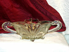 LARGE BROCKWITZ ART DECO THICK CLEAR GLASS FRUIT BOWL WITH DOLPHIN HANDLES PERFE
