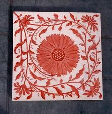 Mintons Arts & Crafts Aesthetic Sunflower Red & Cream Tile