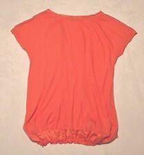 pas de calais Short Sleeve Orange Bubble Hem Top Tunic, NEW, M/L