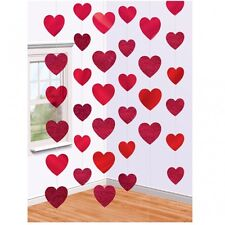 42ft Valentines Ruby Wedding Anniversary Party Red Heart Foil String Decorations