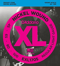 D'ADDARIO EXL170S NICKEL BASS STRINGS - SHORT SCALE, REG/LT. GAUGE 4's - 45-100