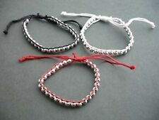 Red, black and white woven silver bead bracelets x 3  - Balouli