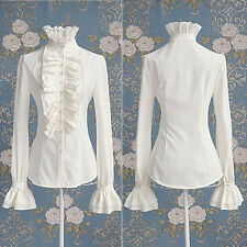 Victorian Women OL Office Lady Shirt Frilly Ruffle Cuff Shirt Blouse White Black