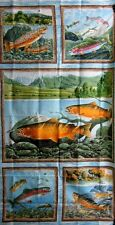 Elusive Catch Fabric Fish Lake Outdoor Sports Out Of Print Premium Cotton