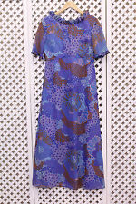 Vintage purple blue floral ruffle flower 70s boho smock maxi dress S M