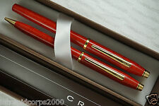 Cross Made in USA Century II Cinnabar Red & 23KT RollerBall Pen & 0.5MM Pencil