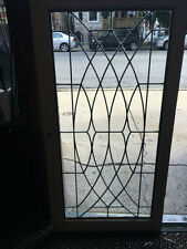 """Antique Leaded Glass Bookcase Cabinet Doors / Windows / Transom 43"""" by 22"""""""