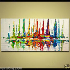 Hand painted modern abstract oil painting canvas boat ship sailing (NO framed)