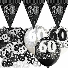 Black Silver Glitz 60th Birthday Flag Banner Party Decoration Pack Kit Set