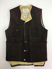VINTAGE KALLISONS WESTERN WEAR MENS BROWN GENUINE LEATHER ROCKABILLY VEST MEDIUM