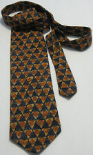 OSCAR DE LA RENTA Orange~Black 100% Silk Men's Necktie (Made in U.S.A.)