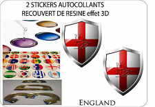 2 X STICKERS COVERED WITH RESINATED WINE BLAZON 3D EFFECT 60 mm X 50 mm ENGLAND