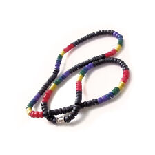 Pride Shack - Gay Lesbian Pride - Black & Rainbow Bead Necklace LGBT Pride Flag