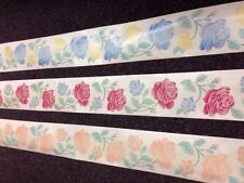 Self Adhesive Roses Wallpaper Border Clear Backing 5mtrs 2 blue or 8 peach