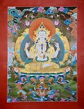 "34.75"" x 26.5"" Chenrezig/Avalokiteshvara Scroll Thangka/Thanka Painting Nepal"