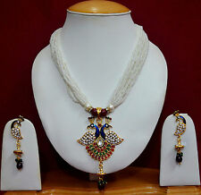 Indian Costume Jewellery Peacock Gold Plated Pearl Necklace Earrings Sets f37n19
