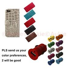 ONE iPhone 5/5S Croc Skin Wallet Case + Sreen Protector + ONE Car Charger