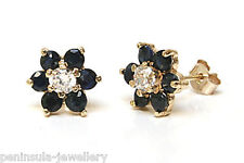 9ct Gold Sapphire cluster Studs earrings Made in UK Gift Boxed