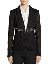 Auth Emilio Pucci LACE Black Silk Satin Tuxedo Blazer Jacket Size IT40 S US2 4