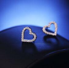Women Silver Plated Heart Ear Studs Girls Crystal Rhinestone Good Earrings