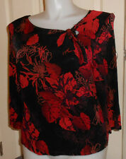 Jaclyn Smith red black purple floral slinky travel knit top XL