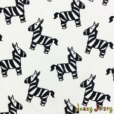 Zebras On White Cotton Jersey Knit Fabric