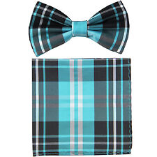 New formal men's pre tied Bow tie & Hankie set plaid & checkers turquoise blue