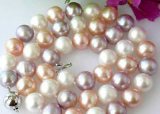 "Charming!Genuine 8-9mm Multi-Color akoya cultured pearl necklace 18"" A60"