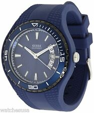 GUESS Men's Streamlined Bold Statement Blue Dial Rubber Watch U10663G3