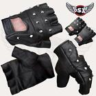 FINGERLESS 100% REAL LEATHER GLOVES STUDS: CYCLING DRIVING BIKERS WHEELCHAIR GYM