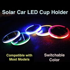 2pcs Universal (65mm) Solar Energy LED Car Cup Holder Pad Switchable Color