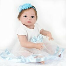 22'' Handmade Lifelike Reborn Baby Girls Doll Full Body Vinyl Silicone Kids Gift
