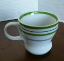 STARBUCKS Blue & Green Bands Porcelain Coffee MUG c.2007 Diner style cup