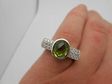 $4,300 Large Designer 14k White Gold Peridot & Diamond Cocktail Ring w/Appraisal