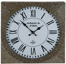 LARGE Vintage Rustic Parisian Roman Numerals Square Reed Wood Wall Clock NEW