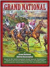 New 15x20cm GRAND NATIONAL HORSE vintage enamel style tin metal advertising sign