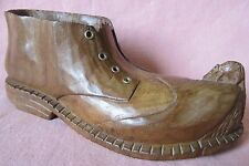 Old Folk Art Wooden Carved Shoe Boot with Mouse Decorative Art Metal Eyelets