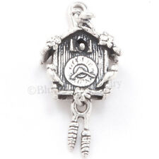 3D CUCKOO CLOCK Moveable Pine Cones Charm Pendant 925 STERLING SILVER Solid