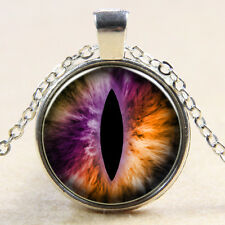 Vintage  Eyes Cabochon Tibetan silver Glass Chain Pendant Necklace xn35
