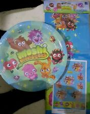 NEW MOSHI MONSTER PLASTIC TABLE CLOTH AND 8 CARDBOARD PLATES