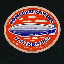 Hotel Graf Zeppelin ECHTERDINGEN Germany * Old Luggage Label Kofferaufkleber