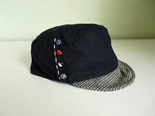 NEW MONSOON ACCESSORIZE LADIES NAVY BLUE WOOL HOUNDSTOOTH RETRO MILITARY CAP HAT