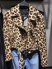 ZARA New Animal Print  Biker Jacket Size L Uk 12 Re:7794/300 Authentic Zara